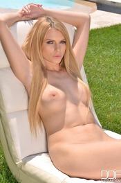 Sexy Blonde Babe Karina Grand Masturbates On The Poolside 20