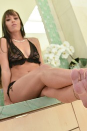 Hot Brunette Alana Cruise Strips Off Her Sexy Black Lingerie 08