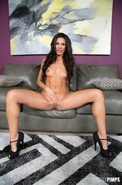 Black Haired Hottie Alexa Tomas Strips On The Couch 13