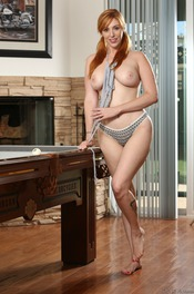 Curvy Redhead Lauren Phillips Strips By The Pool Table 03