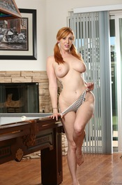 Curvy Redhead Lauren Phillips Strips By The Pool Table 06
