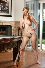 Curvy Redhead Lauren Phillips Strips By The Pool Table 13