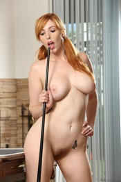 Curvy Redhead Lauren Phillips Strips By The Pool Table 14