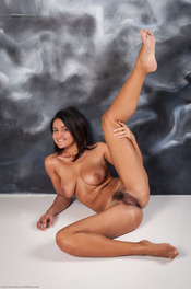Busty Latina Girl Sanita Spreads Her Hairy Pussy 05