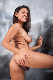 Busty Latina Girl Sanita Spreads Her Hairy Pussy 10
