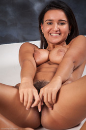 Busty Latina Girl Sanita Spreads Her Hairy Pussy 13