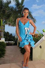 Hot Lexa In Blue Dress 03