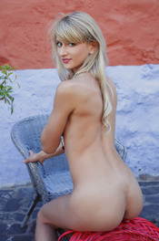 Skinny Blonde Nika Poses Naked Outside 01