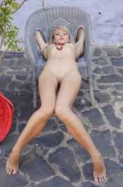 Skinny Blonde Nika Poses Naked Outside 15