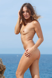 Hot Brunette Dominika Naked On The Rocks 14
