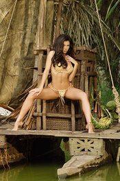 Linda In Bikini On A Wooden Raft 10