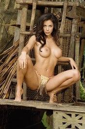 Linda In Bikini On A Wooden Raft 13