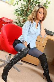 Blonde Secretary In Blue Stockings 03