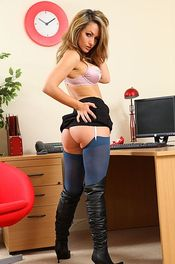 Blonde Secretary In Blue Stockings 09