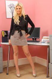Beauty Blonde Stripping In Her Office 00
