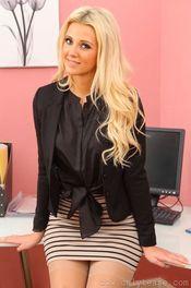 Beauty Blonde Stripping In Her Office 02