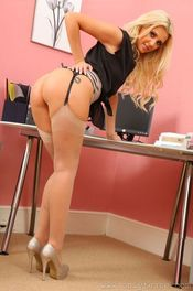 Beauty Blonde Stripping In Her Office 04