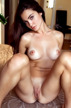 Beautiful Naked Brunette Chick Spreads