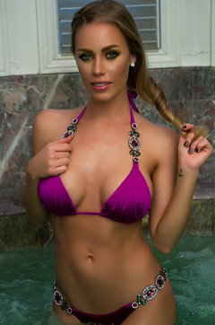 Nicole Aniston Teasing In Purple Bikini