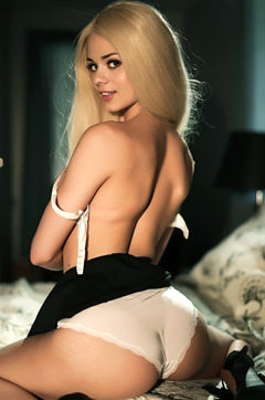 Cute Blonde Teen Babe Elsa Jean Stripping On A Bed