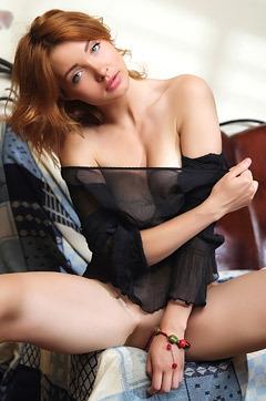 Gorgeous Redhead Babe Kika Strips And Spreads